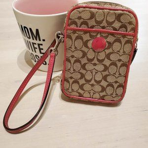 Authentic Coach Pink and Brown Wristlet